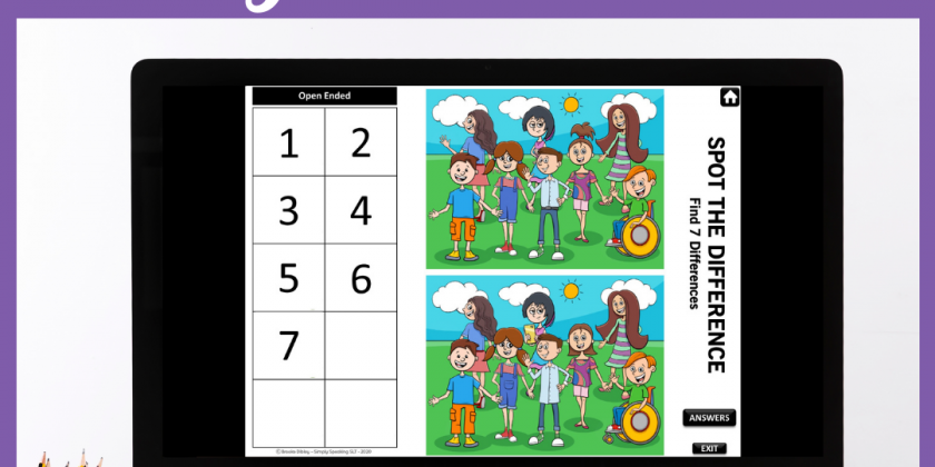 Digital Spot the Difference Speech and Language Games