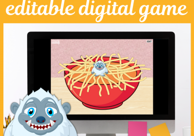 Yeti Spaghetti Digital Editable Speech Game for Teletherapy or iPad