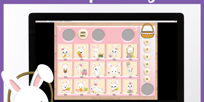 Easter Themed Digital Cariboo for Speech Teletherapy and iPad