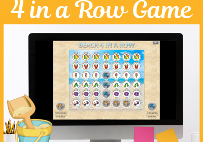 Beach Themed 4 in a Row PowerPoint Game for Speech Therapy