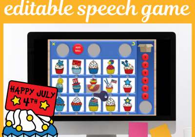 4th July Themed Digital Cariboo for Speech Teletherapy and iPad
