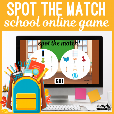 School Online Spot the Match Game for Speech Therapy