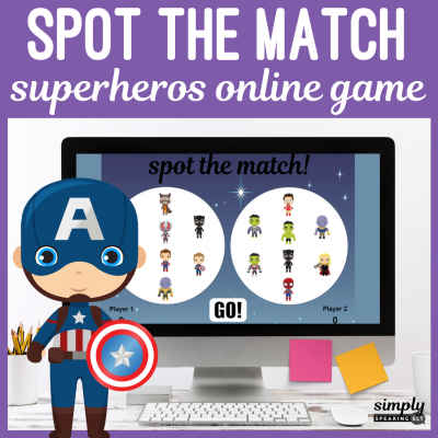 Superheroes Online Spot the Match Game for Speech Therapy