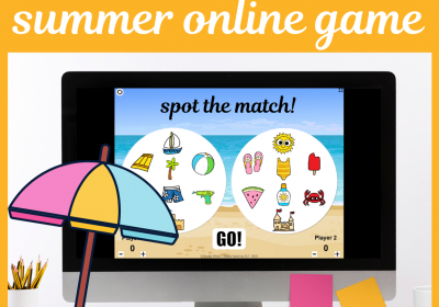 Summer Online Spot the Match Game for Speech Therapy