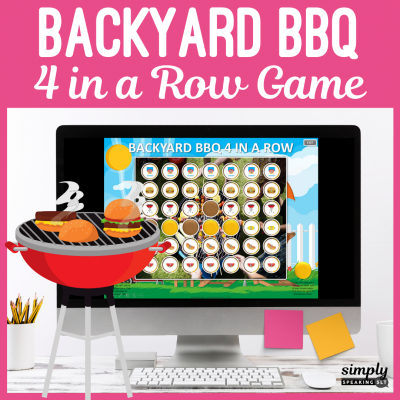 Backyard BBQ Themed 4 in a Row PowerPoint Game for Speech Therapy
