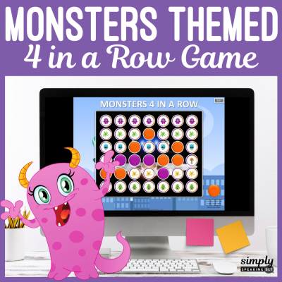 Monsters Themed 4 in a Row PowerPoint Game for Speech Therapy