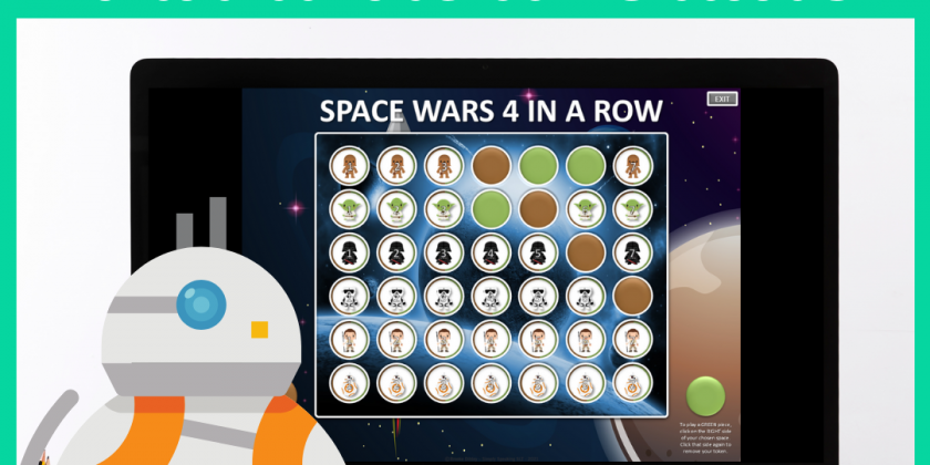 Space Wars Themed 4 in a Row PowerPoint Game for Speech Therapy