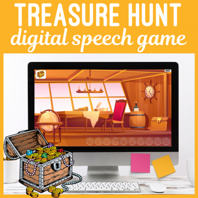 Digital Treasure Hunt Speech & Language Game for No Print Teletherapy or iPad