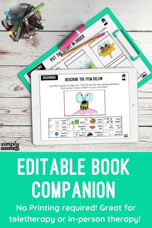 Editable Book Companion for Any Book : No Print & Printable : Speech & Language