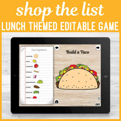 Static Pins Shop the list Lunch Theme Editable Game.