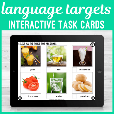 No Print Interactive Language Cards for Speech Therapy on iPad or Teletherapy