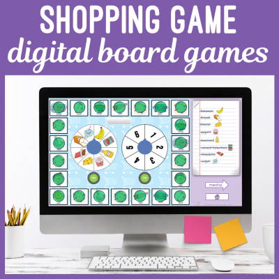 Speech Therapy Teletherapy Shopping Board Game