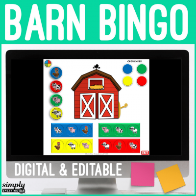 Digital Editable Bingo in the Barnyard for No Print Speech Teletherapy or iPad