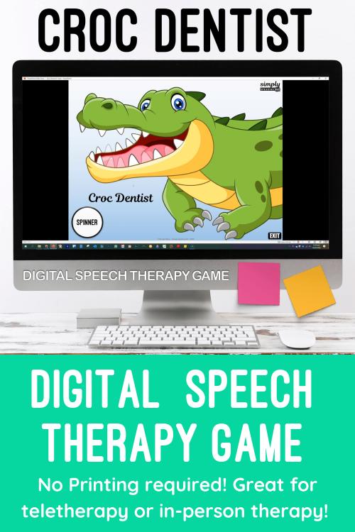Digital Editable Croc Dentist Game for No Print Speech Teletherapy or iPad