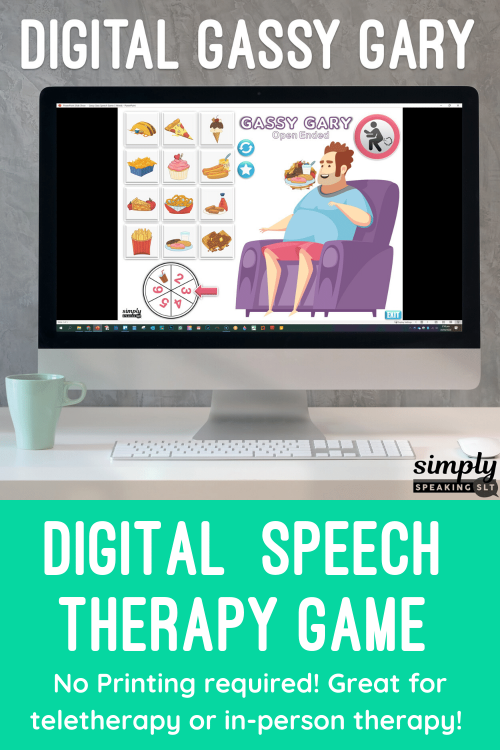Digital Editable Gassy Gary Fart Game for No Print Speech Teletherapy or iPad