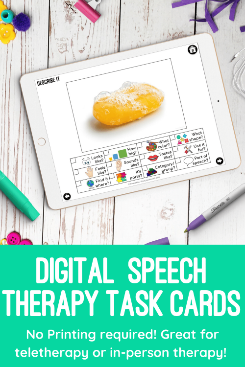 Static Pin Digital Task Cards for Speech Therapy