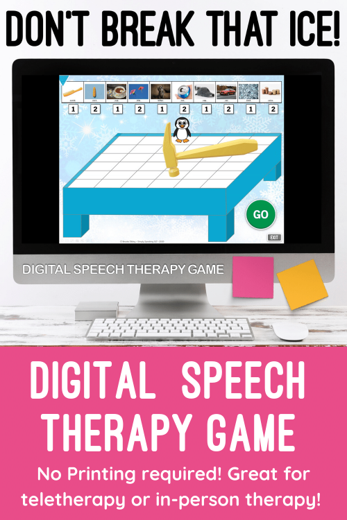 Digital Editable Don't Break that Ice Game for No Print Speech Teletherapy or iPad