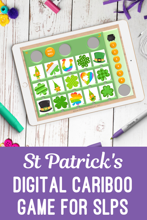 St Patrick's Themed Digital Cariboo for Speech Teletherapy and iPad
