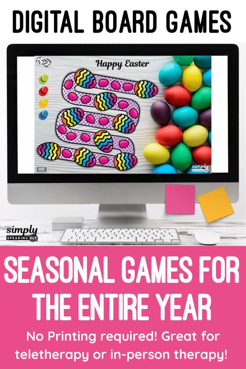Digital Seasonal Board Games Teletherapy or iPad