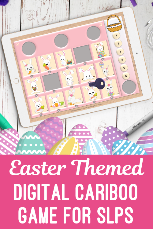 Easter Digital Editable Cariboo Game for Teletherapy & iPad No Print Speech