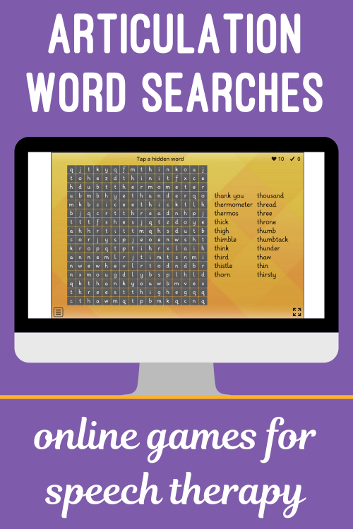 Articulation Word Searches for Speech Teletherapy or iPad