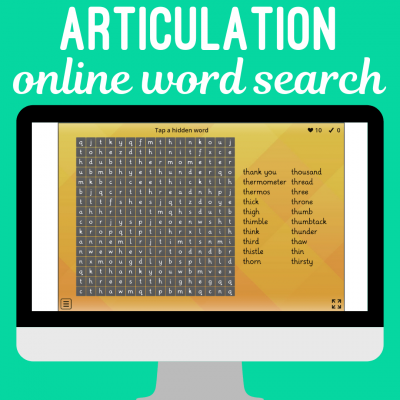 Articulation Word Searches for Speech Therapy